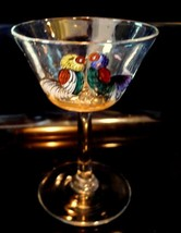 Fighting Roosters hand painted  clear wine glass - $26.24