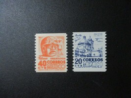 1969 Set of 2 Mexico Coil Postage Stamps Catalog Number 1003-04 MNH
