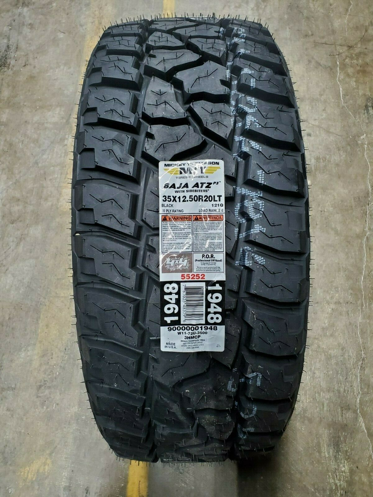 35X12.50R20LT Mickey Thompson BAJA ATZ P3 A/T 121Q BLK 10PLY LOAD E (SET OF 4)