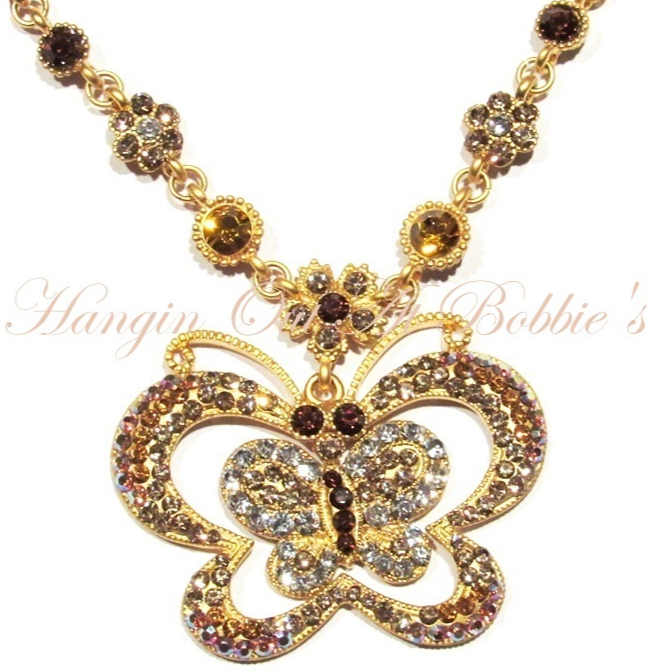 Butterfly Necklace Multicolor Crystal Champagne Gold Brown Goldtone Metal Spring - $34.99