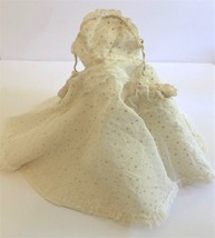 "Vintage Doll Dress with Off Shoulder Arms Ivory Cream 13"" to 14"" - $12.61"