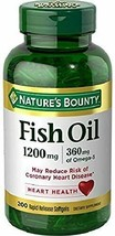Fish Oil Natures Bounty, 1200mg, 360mcg of Omega-3, 200 Rapid Release So... - $13.99