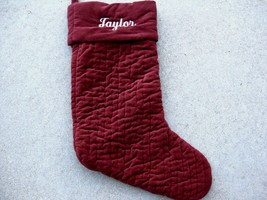 Pottery Barn Christmas Stocking Burgundy Channel Quilted Velvet Name Taylor - $21.85