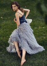Champagne Long Layered Tulle Skirt Outfit Adults Tiered Tulle Skirt Custom image 6