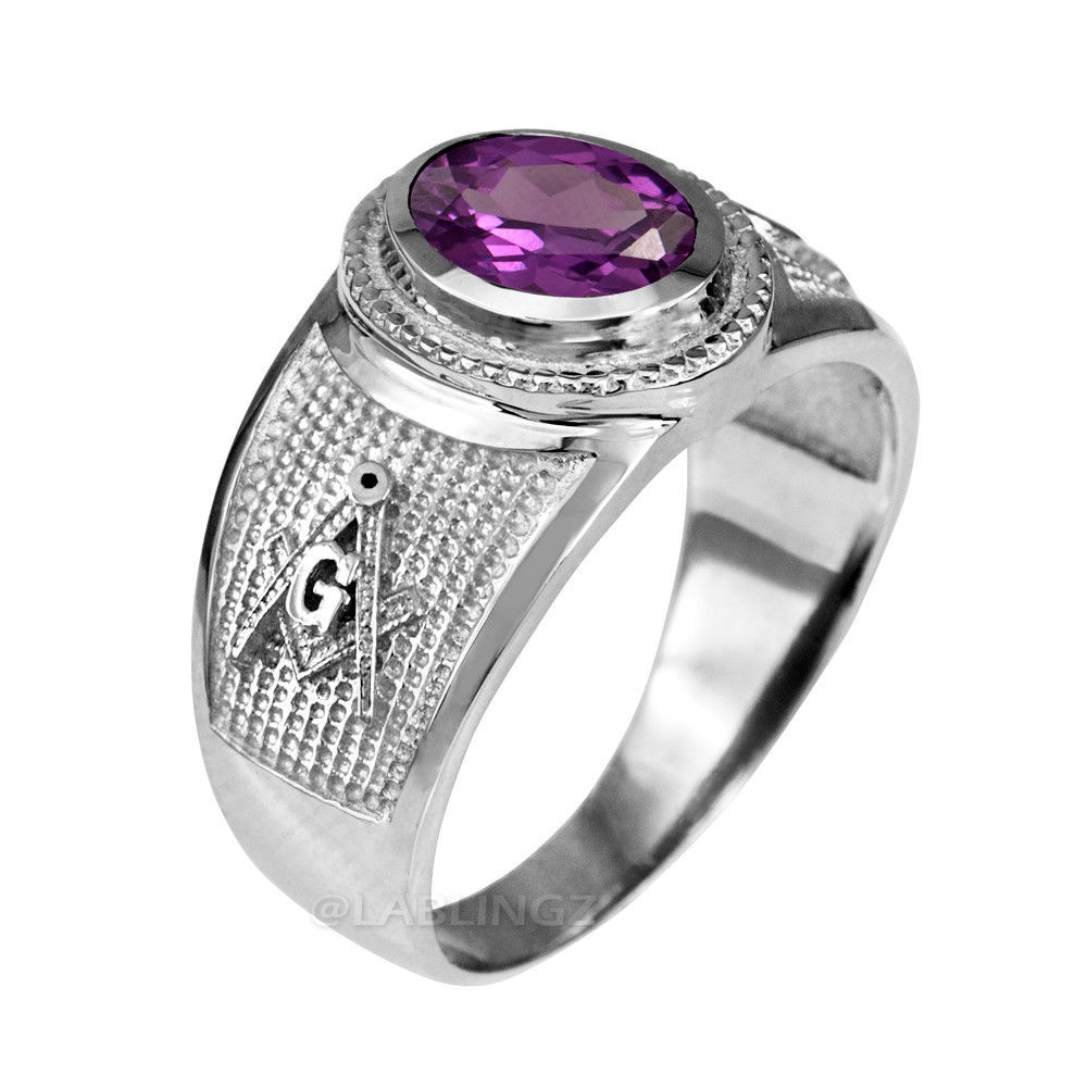 Sterling Silver Masonic Band June Birthstone Violet CZ Freemason Ring