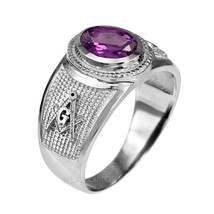 Sterling Silver Masonic Band June Birthstone Violet CZ Freemason Ring - $49.99