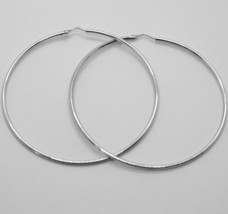 18K WHITE GOLD ROUND CIRCLE EARRINGS DIAMETER 70 MM WIDTH 1.7 MM, MADE IN ITALY image 2