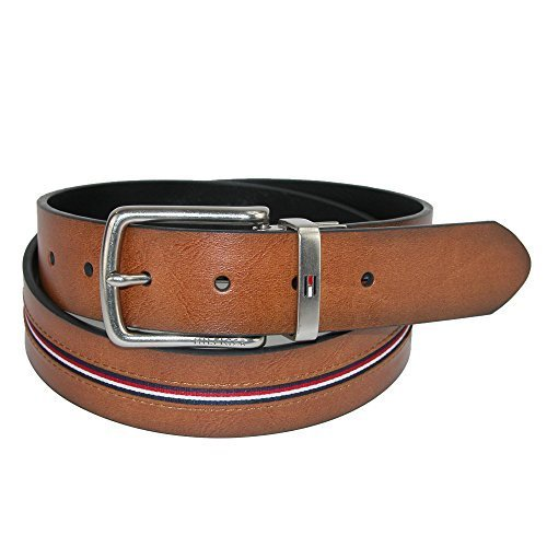 Tommy Hilfiger Men's Reversible Jean Belt with Ribbon Inlay, 32, Tan / Black