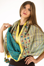 Vintage Reversible Kantha Silk Scarf Hand Stitched One-of-a-kind  - $39.99