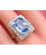 ANTIQUE ART DECO 8ct BLUE SPINEL .38ctw ROSE DIAMOND PLATINUM 18K RING 1... - £897.26 GBP