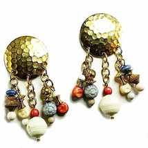 Beaded Boho Round Huggie Earrings Vintage Pierced Hammered Gold Tone e749 - $8.99