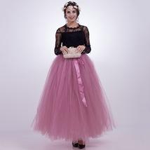 Women RAINBOW Maxi Skirt Drawstring Waist Mint Gray Maxi Tulle Skirt Petticoats image 8