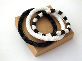 Beaded rope bracelet set roll on bangle bronze gold silver mothers day g... - $18.00