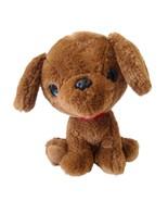 Tom's Toy International Brown Plush Puppy Dog Blue Glitter Eyes Large He... - $9.66