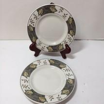 "2 Bread Plates October Majesticware Sakura Stoneware 6.5"" Leaves - $9.74"