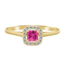 1.55 Ct Pink Sapphire & Diamond 10k Yellow Gold Fn 925 Wedding Engagemen... - $79.99
