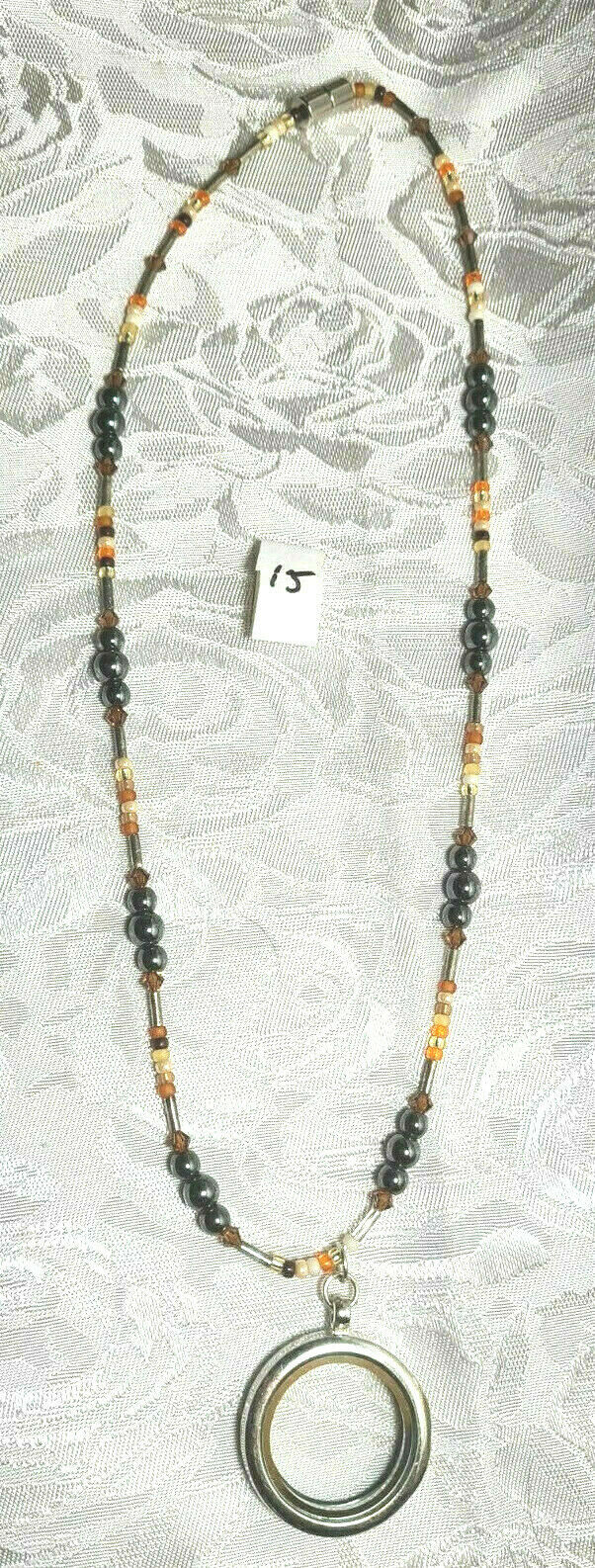 """Locket w/ Hematite, Cut Crystal Bicones and Seed Beads Necklace 17 1/2""""  (#15)"""