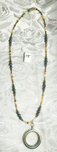 """Locket w/ Hematite, Cut Crystal Bicones and Seed Beads Necklace 17 1/2""""  (#15) image 1"""