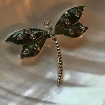 Estate Green Enamel Silvertone Dragonfly w Clear Rhinestone Accents Pin ... - $12.19