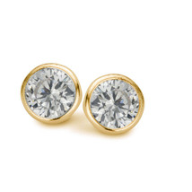 Earrings solitaire New bling Sterling silver  925  with white round zirc... - $15.84