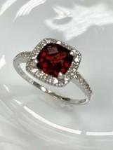 Ema Garnet Ring with Diamond in 14K White Gold  Sz 8 - $214.62