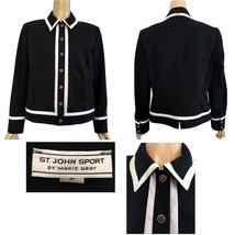 St. John Sport Black Jacket White Trim Gold Logo Button Snaps M - $185.00