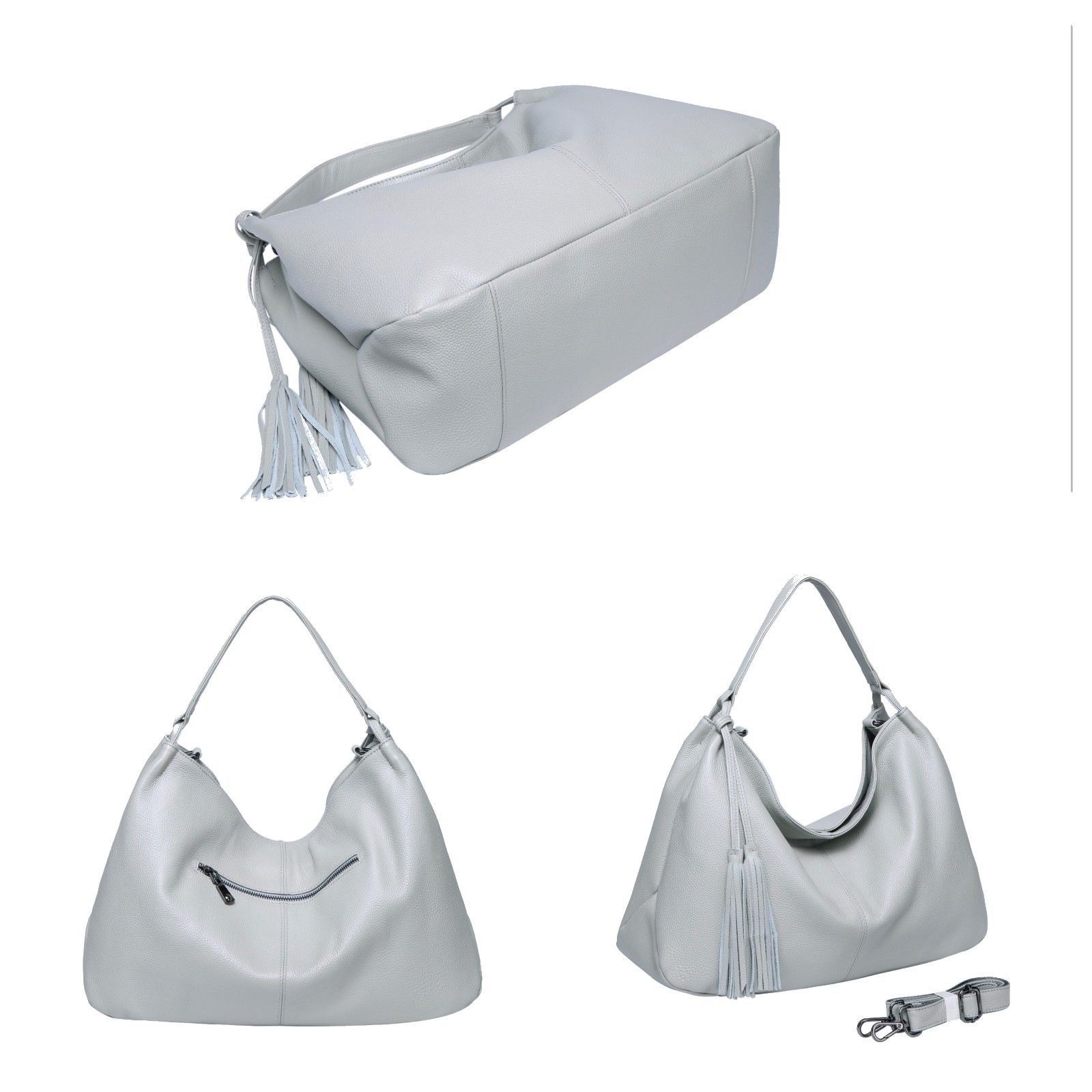 Large Soft Pebbled Italian Leather Tassel Hobo Handbag Shoulder Bag Purse