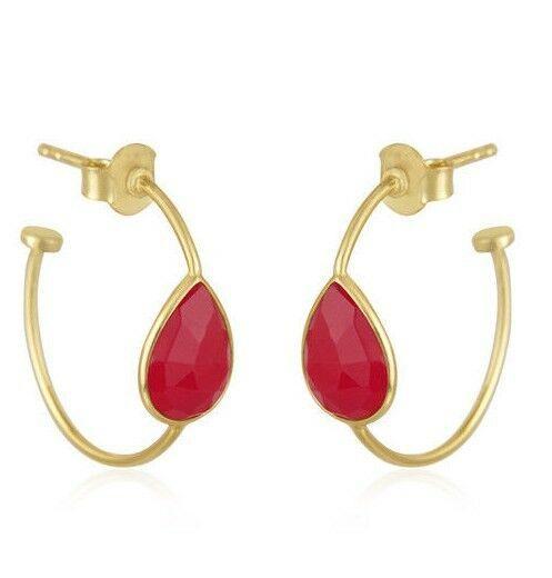 Pink Chalcedony Gemstone Designer 18k Gold Plated Silver Girls Hoop Earrings