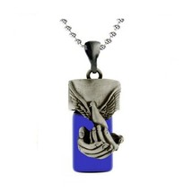 Cobalt Glass Bird in Hands Pendant/Necklace Funeral Cremation Urn for Ashes - $54.99