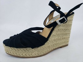 Steve Madden Womens Espadrille Sandals Sz 8 Black Mammbow Wedge Jute Platform ** - $15.48