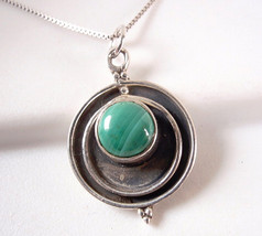 Brand New MALACHITE 925 Sterling Silver Necklace India a102a - $17.42