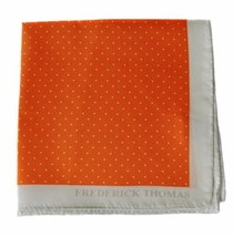 Frederick Thomas orange and white pin spotted pocket square handkerchief FT1327