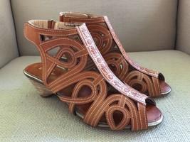 Spring Step Flourish Tan Brown Leather Cutout Design Wedge Ankle Strap Sandal 38 - $37.09