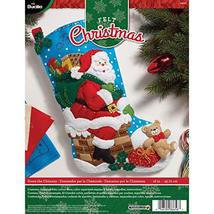 Bucilla 18-Inch Christmas Stocking Felt Applique Kit, Down The Chimney - $23.99