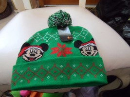 Disney Mickey Mouse Green and Red Christmas PomPom Cuffed Beanie Knit Ha... - $12.00