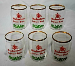 Vintage Budweiser Anheuser-Busch  Glasses Set of 6 Red & Green 6 1/8 in. tall - $24.74