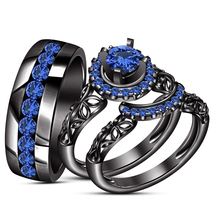 Blue Sapphire His & Her Wedding Band Ring Trio Set Black Gold Finish 925 Silver - $145.33