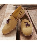 New Handmade Men Tan Formal Moccasins, Men Suede Slip On Shoes, Men Tass... - $159.97