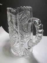 American Brilliant Period Cut Glass pitcher hobstar Antique C6 - $73.52
