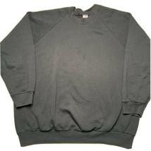 Vintage 90s Fruit Of The Loom Blank Crewneck Sweatshirt 3XL Black 50/50 Usa Made - $34.58