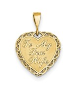 """14K Yellow Gold """"For My Dear Wife"""" Heart Pendant - $194.99"""