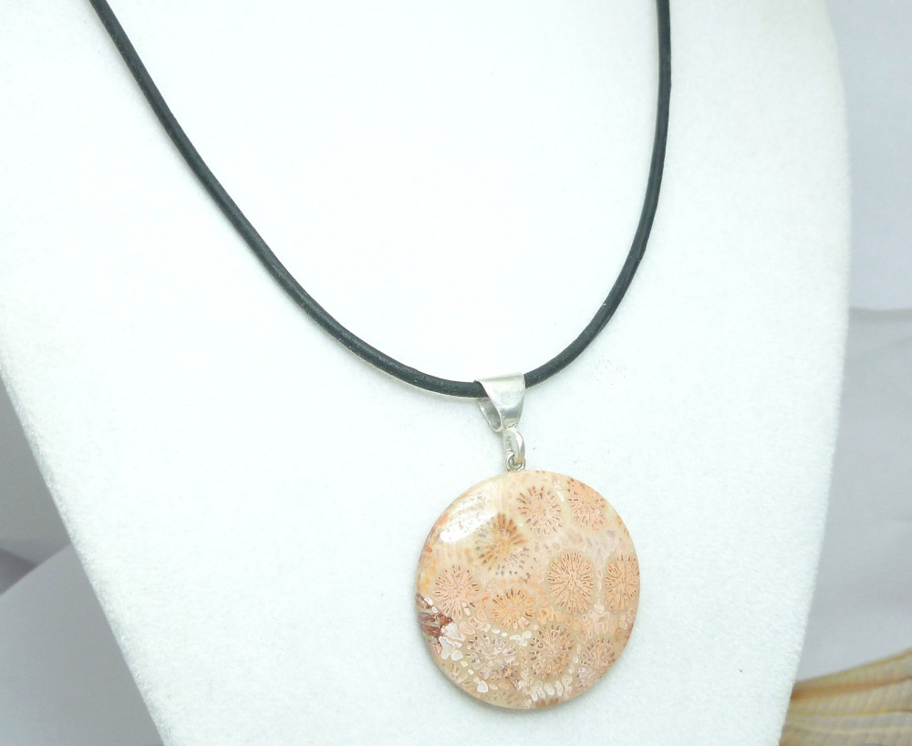Sterling Orange Coral Pendant Necklace Black Leather Cord