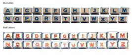 Blue or Red Letters Italian Charm Inset  fits 9mm Classic Nomination Bracelet - $3.24