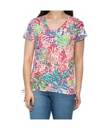 Kiwi Fresh V-Neck Side Ruche Shirt Short Sleeve Size S New Msrp $28 Cora... - $7.99