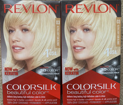 2 PACK -#03 Revlon ColorSilk Hair Color 03 Ultra Light Sun Blonde 3D COLOR - $17.75