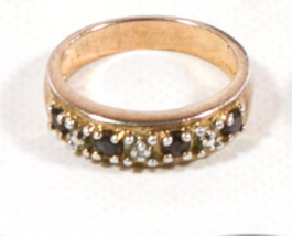 Early .925 Sterling Silver with Small Black Stones Ring - $19.95
