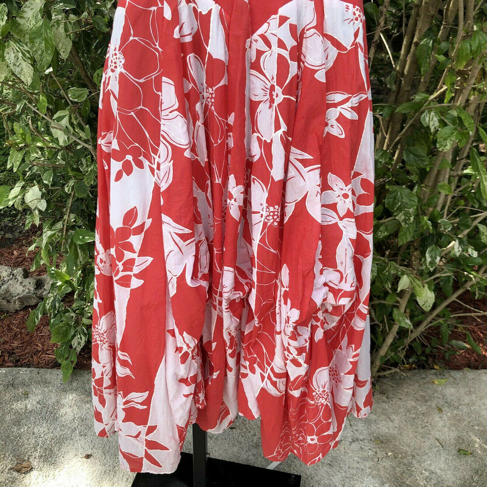 Vasna Desire Sleeveless Fit Flare Dress Size Small Coral White Floral Hawaiian image 8