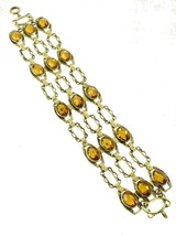 "ANTIQUE DECO ROSE MINERS CUT AMBER PASTE STUNNING TRIPLE BRACELET 7"" SPE... - $101.24"