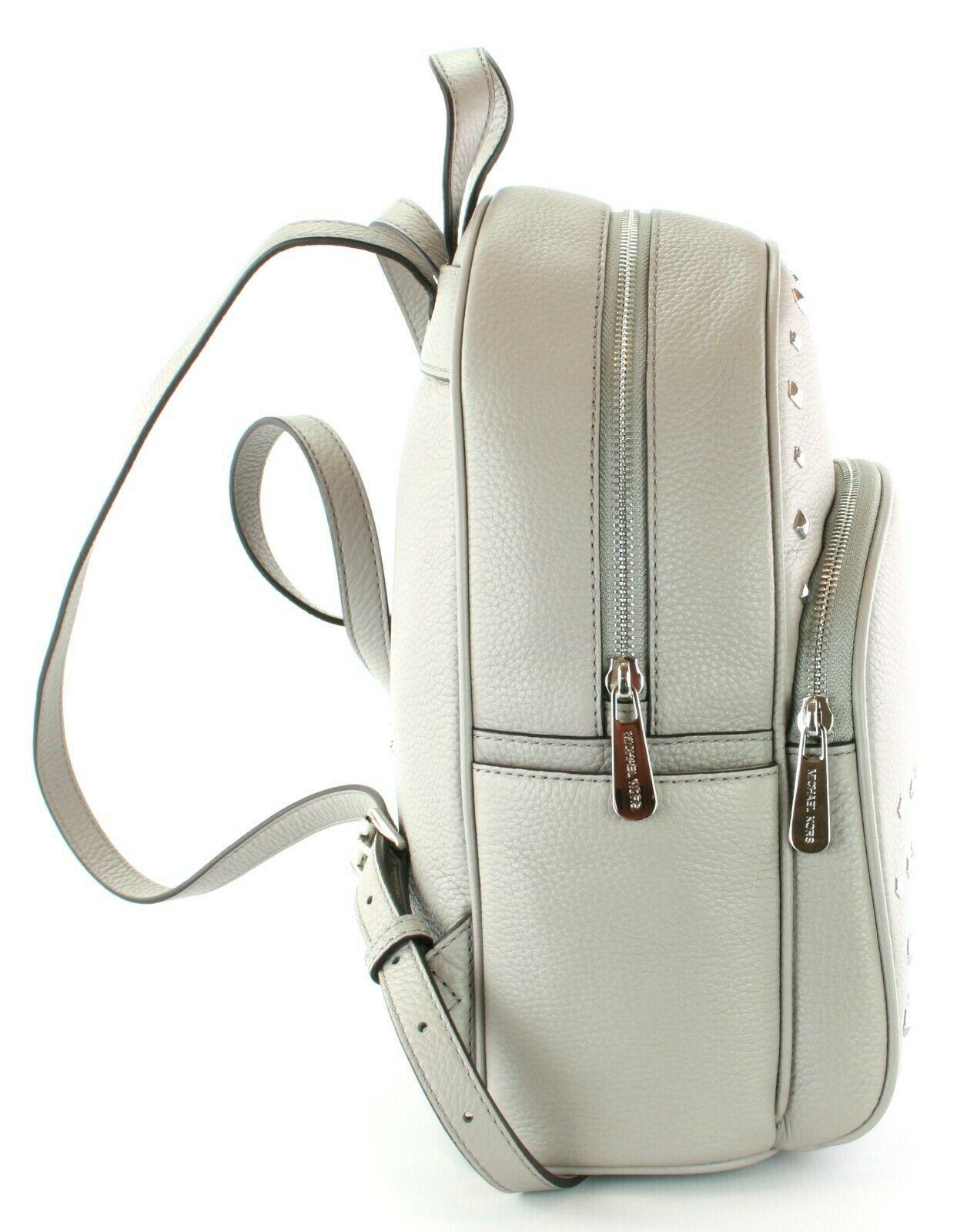 Michael Kors Abbey Medium Backpack Bag Pearl Grey Studded Leather RRP 310