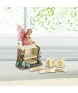 Pink Fairy Figurine with Mini Block Calendar Storybook Fantasy Decor - $19.22